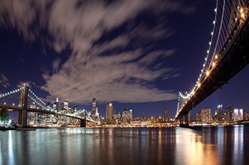Elementem Big Canvas Wall Art - NYC Bridges at Night Photo Print 24 (H) x 36 (W) inches - Ready to Hang Frameless Contemporary Statement Wall Art, Wall Mounted City - 5 Spring Nyc Street