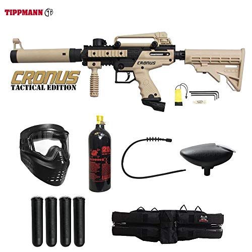 MAddog Tippmann Cronus Tactical Silver Paintball Gun Package - Black/Tan (Best Milsim Paintball Marker)