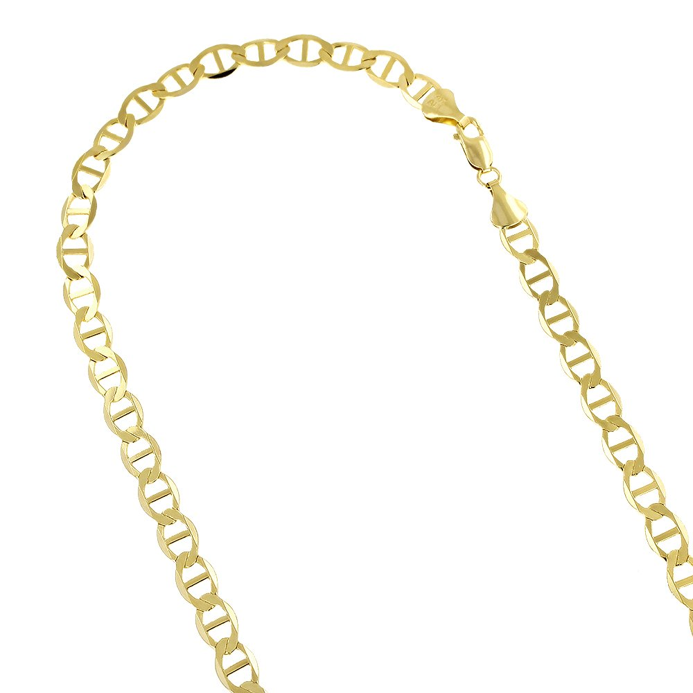 Luxurman 14K Yellow Gold Solid Flat Mariner Chain 5.5mm Wide Link Bracelet with Lobster Claw Clasp 8 inches long