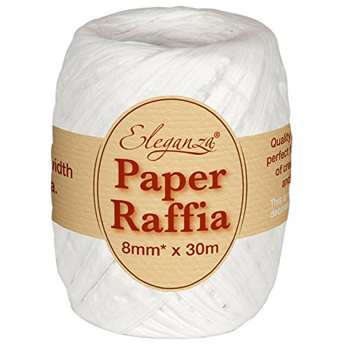 Eleganza 8 mm x 30 m Paper Raffia for Variety of Craft Projects and Gift Wrapping, No.01 White Oaktree UK 629936