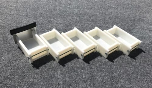 Lot of 4 HDPE Soap Loaf Making Mold and Single Slot Soap Cutter 1 - 2 lb ea mold by GDD