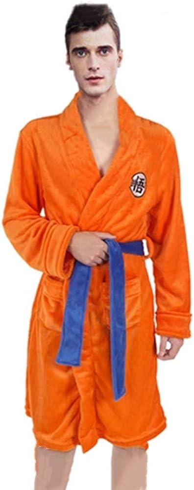 IUTOYYE Peignoir Robe de Bain pour Hommes Pyjama Goku Super Douce Robe de Chambre Dragonballs Ch/âle Col V/êtements de Nuit