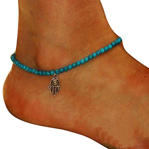 Price comparison product image Aniywn Fashion Turquoise Blue Anklet Boho Beads Hamsa Fatima Anklets Chain Jewelry (Free Size,  Blue)