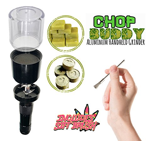 CHOP Buddy Electric Kief Catcher Grinder | Sifting Metal All Purpose Durable Brush | Smell Proof Container | Electric Herb Grinder with Steel Sift Brush Kit by NightSmoke