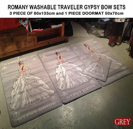 ROMANY GYPSY WASHABLES NEW SETS OF 4 MATS//RUGS GYPSY BRIDE DARK GREY//BEIGE