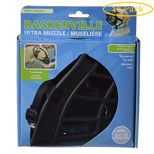 Baskerville Ultra Muzzle for Dogs Size 6 - Dogs 80-150 lbs - (Nose Circumference 16'') - Pack of 10