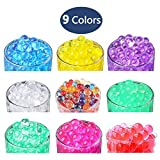 Hosim 18 Pack Water Beads, 9 Colors Magic Growing Jelly Pearls Balls for Spa Refill, Kid Tactile Sensory Toys, Furniture Decorative Vase Filler and Wedding Décor