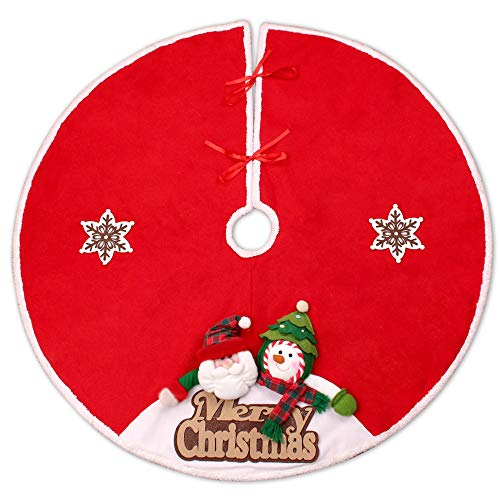 YING LING CRAFTS Unique Christmas Tree Skirt 3D Santa Claus and Snowman with Merry Christmas, Best for Large Christmas Tree Decorations, 42 Inch, Red from YING LING CRAFTS