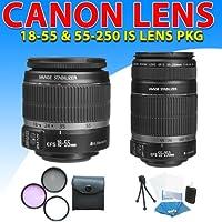 Canon 18-55mm 1855mm F/3.5-5.6 Ef-s Is Lens + Canon Ef-s 55-250mm 55-250 F/4-5.6 Is Autofocus Lens for Canon EOS 20d, EOS 30d, EOS 40d, EOS 50d, EOS 60d, EOS 7d Dslr Cameras (2lens Combo Kit)