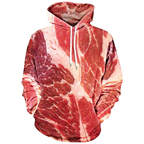 Witspace Unisex 3D Printed Blouse Raw Meat Pullover Long Sleeve Sweatshirt Hooded Tops (3XL, - At Macy's Work Style
