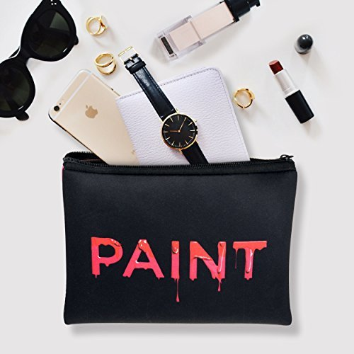 W.I.L.D All in One Zipper Pencil Case | Small Makeup Cosmetic Toiletry Bag | For Storage or Tool | Travel Pouches | Cute Purse Organizer - Red Black Pink Design
