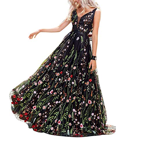 KONVINIT Womens Long 3D Flower Prom Party Dress Backless Casual Gown Tulle Prom Maxi Dress Black