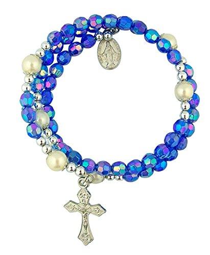 Acrylic Blue Prayer Bead Rosary Wrap Bracelet with Miraculous Medal, 8 Inch