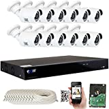 GW Security HD IP 16 Channel 4K NVR Security System with 12 IP PoE H.265 5MP 1080P Security Cameras, 100ft Night vision , 4 TB HDD