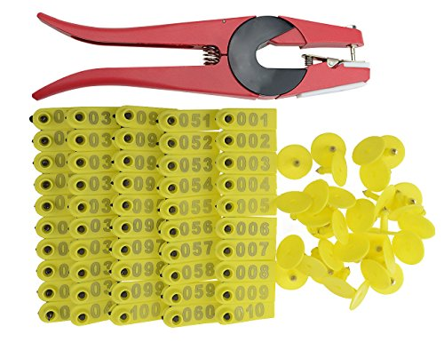 WGCD WMYCONGCONG 1-100 Number Plastic Livestock Ear Tag Animal Tag and 1 pcs Ear Tag Applicator for Goat Sheep (Yellow)