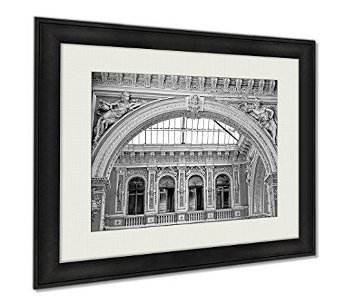Ashley Framed Prints Sculptures Of Modernist Style On The Balcony Of Odessa Passage Old Covered Mall, Wall Art Home Decoration, Black/White, 34x40 (frame size), - Mall Odessa