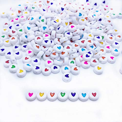 Old White Heart Beads - Amaney 500pcs 7x4mm White Round Acrylic Colorful Heart sheap Beads Mixed Colors Letter Beads Plastic Cube Shape Loose Beads