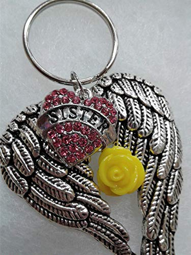 Sister Memorial Angel Wings Keychain w/Yellow Rose Charm