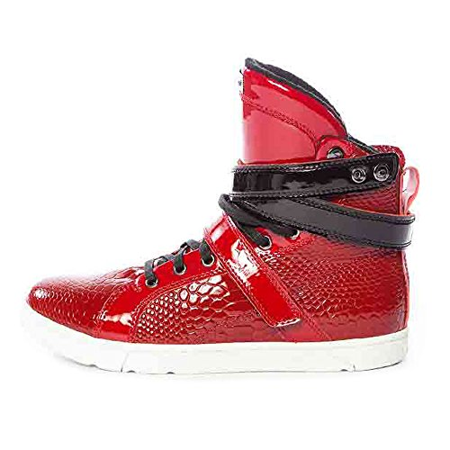Heyday Footwear Men's Anaconda Super Shift Red Leather High Top Bodybuilding Sneaker - 7 D(M) US