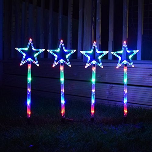 Pack of 4 LED Multi Coloured Star Pathfinder Lights Direct Global Trading