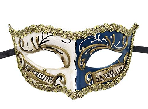 Biruil Masquerade Mask Venetian Costume Prom Party Mardi Gras Face Halloween Ball Mask (B Blue)