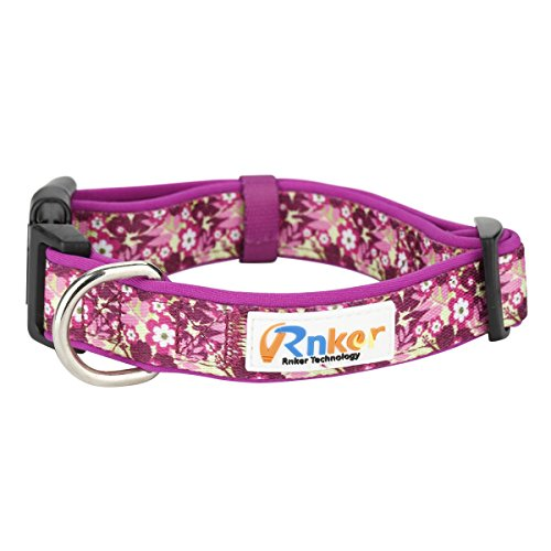 Rnker Dog Collars, Flowers Pattern by hot Stamping, Adjustable Basic Neoprene Padded Dog Collar