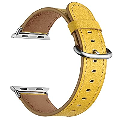 LoveBlue For Apple Watch Series 3/Series 2/Series 1 Band,Single Tour Apple Watch Leather Band, Genuine Leather Band Bracelet Wrist Watch Band with Adapter for Apple Iwatch (42mm-Yellow)