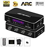 HDMI Switch 4x1, NEWPOWER 4K@60Hz 4 Port Switcher Selector with Audio Out and IR Wireless Remote Control, Max Bandwidth of 18Gbps, Support HDTV Xbox,DTS, DTS Digital
