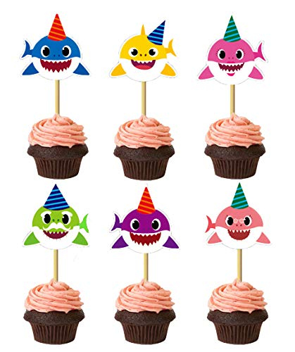 24 Pieces Cute Shark Cupcake Cake Toppers Picks for Kids Birthday Party, Baby Shower Cake Decorations. from GCKAROTO