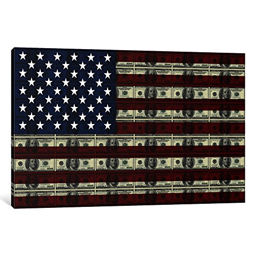 iCanvasART 1 Piece One Hundred Dollar Bill¸ American Flag Canvas