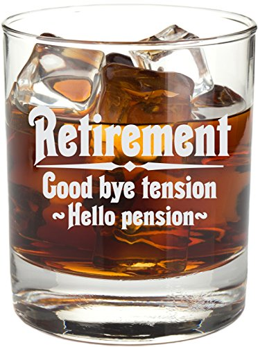 Retirement Gift Whiskey Glass for Men, Goodbye Tension, Hello Pension Etched 11 oz Rocks Glass – RG16