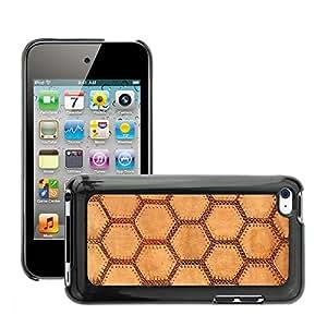 Etui Housse Coque de Protection Cover Rigide pour // M00151156 Suede Tela Hexágono Tan suave // Apple ipod Touch 4 4G 4th