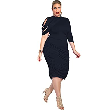 Sumbago One Shoulder Plus Size Bodycon Dress Womens Long Sleeve