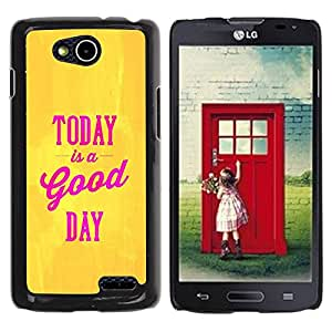 Paccase / SLIM PC / Aliminium Casa Carcasa Funda Case Cover para - Today Is A Good Day Yellow Gold Pink Text - LG OPTIMUS L90 / D415