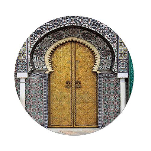 iPrint Polyester Round Tablecloth,Arabian,Golden Door of Royal Palace in Fes Morocco Vintage Moroccan Artwork Mosaic Style,Multicolor,Dining Room Kitchen Picnic Table Cloth Cover,for Outdoor Indoor by iPrint