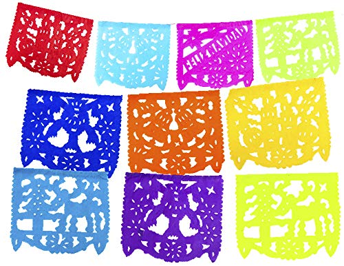 2 Pack Small Size Mexican Papel Picado Feliz Navidad Xmas Banner - Colorful Tissue Paper 7 ft Handcrafted Christmas Decoration Multicolored - 10 Individuals Panel Party Supplies For Weddings, B -