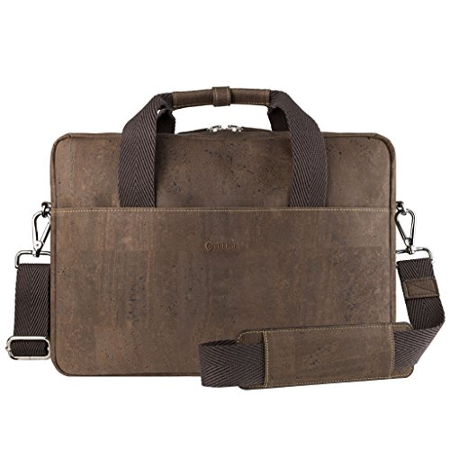 Corkor Vegan Briefcase Handbag Shoulder Messenger Bag Men Non-Leather Cork Brown Color