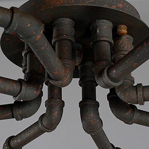 Industrial Lighting Rustic Chandelier Iron Pipe Ceiling: 4-Lights-Industrial-Cage-Pipe-Pendant-Light-LITFAD-Retro
