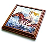 3dRose trv_54931_1 Spirited Horse with Bare Back Rider Fun Riding Horse and Getting Wet on a Hot Summer Day Trivet with Ceramic Tile, 8 by 8'', Brown