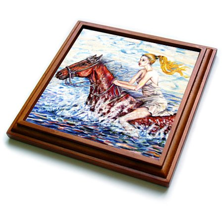 3dRose trv_54931_1 Spirited Horse with Bare Back Rider Fun Riding Horse and Getting Wet on a Hot Summer Day Trivet with Ceramic Tile, 8 by 8'', Brown by 3dRose