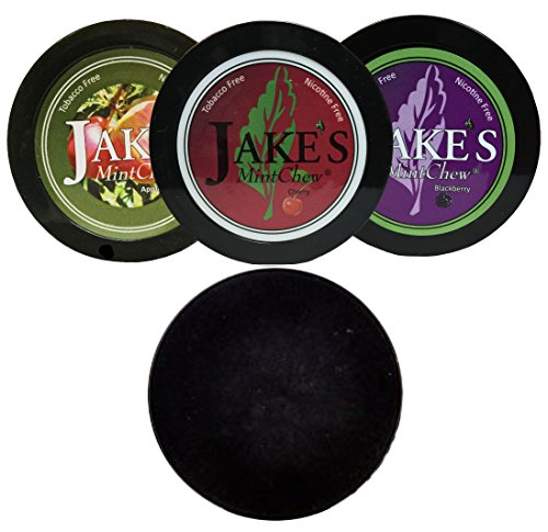 - Jake's Mint Chew Cherry, BlackBerry, Apple Spice - 3 Can Variety Pack - Includes DC Skin Can Cover (Black Skin)