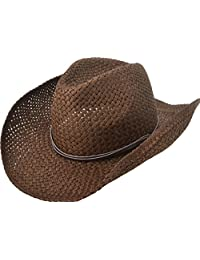 Simplicity Men's & Women's Western Style Cowboy / Cowgirl Straw Hat with Bull Beige