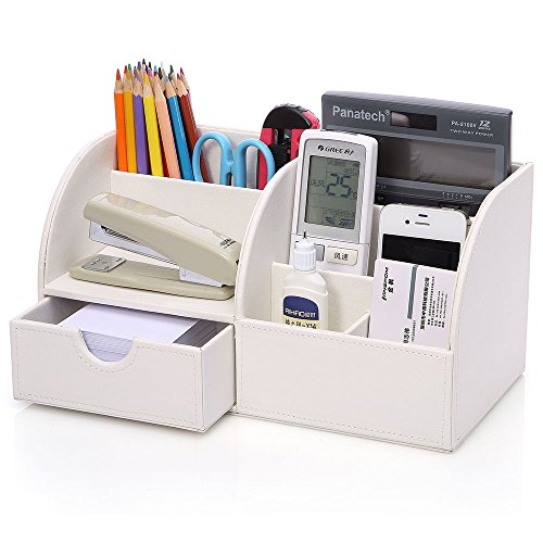 KINGOM™ 7 Storage Compartments Multifunctional PU Leather Office Desk Organizer,Desktop Stationery Storage Box Collection, Business Card/Pen/Pencil/Mobile Phone /Remote Control Holder Desk Supplies Organizer (White)