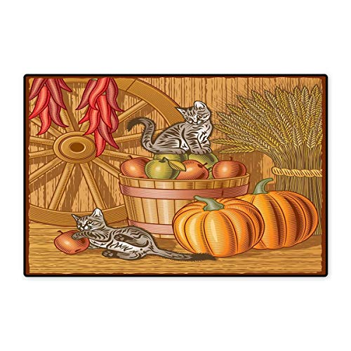 (Harvest Bath Mats for Bathroom Retro Barn with Two Kittens Pumpkins Dried Peppers Apples in Basket Wheat Floor mat Bath Mat 20