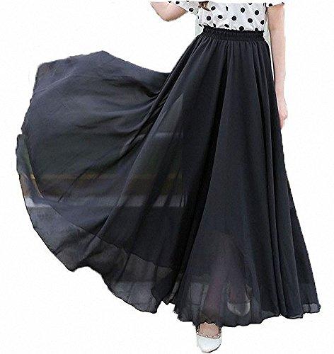 Afibi Womens Chiffon Retro Long Maxi Skirt Vintage Dress (XXX-Large, Black)