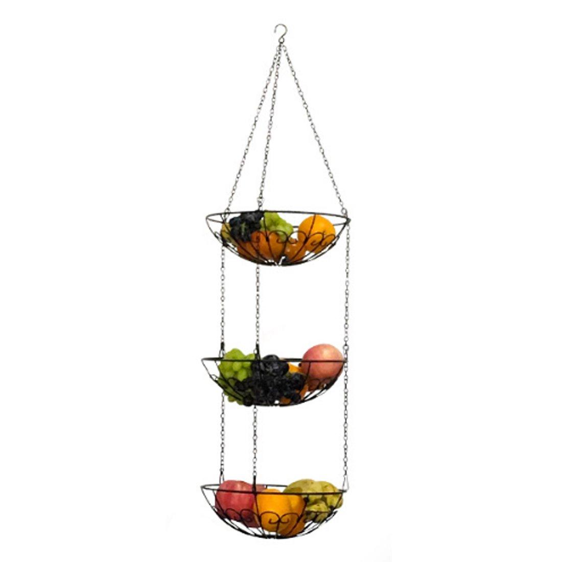 haoun 3-tier HangingフルーツバスケットHanging野菜またはフルーツボウルキッチンストレージbasket-black B07FBL4BRW