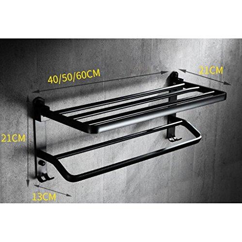 Estante de Toalla Negro Estante de Toalla doblado de la Vendimia Espacio Baño de Aluminio Toallero Accesorios de baño Rollsnownow (Tamaño : Long 40cm): ...