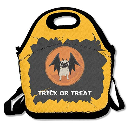 Insulated Neoprene Lunch Bag/Lunch Box/Lunch Tote/Picnic Bags Cooler Warm Pouch Lightweight Handbag Gourmet Food Containers for Women, Men,Girls,Boys, Kids - Trick Or Treat Halloween Funny Pug ()