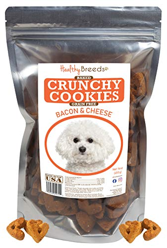 Healthy Breeds Bichon Frise Crunchy Cookies Dog Treats - Bacon & Cheese - Baked with Natural Grain Free Ingredients - Made in USA - 16 oz