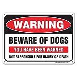 Warning! Beware of Dog Sign, Large 10x7